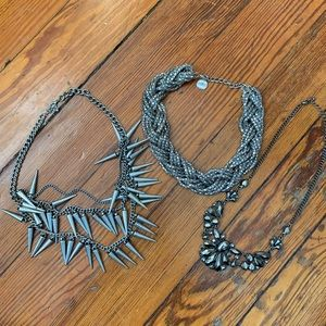 Bundle of Bold Silver Necklaces